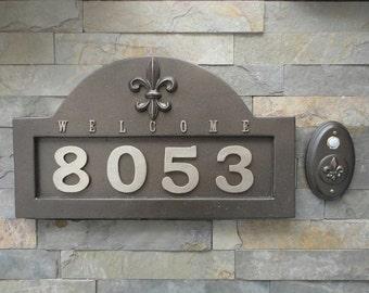French Fleur De Lis ADDRESS Plaque House Numbers & Matching Doorbell