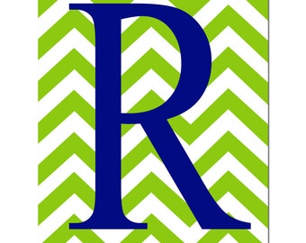 Chevron Monogram Initial - Nursery Art 11x14 Print - Nursery Decor - Kids Wall Art - CHOOSE YOUR COLORS - Shown in Navy, Green and More