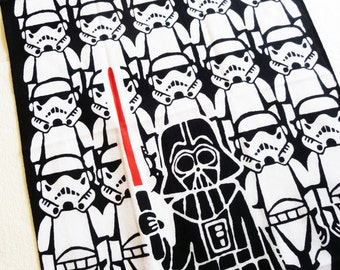 Japanese tenugui Dark Vader fabric, mount fuji tenugui, kawaii fabric, noren fabric,  wall decoration, star wars wall art, star wars fabric