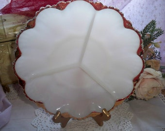 Milk Glass Divided Dish - Scalloped Edge with Gold Trim - Vintage Serving Plate