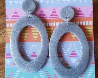 Large open ovals - silver sparkle