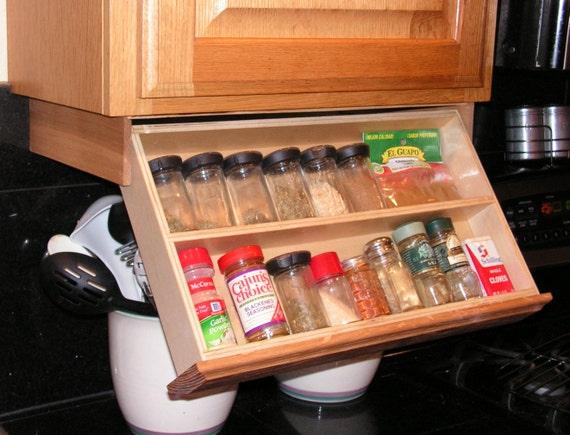 Under cabinet spice rack for Under cabinet knife drawer