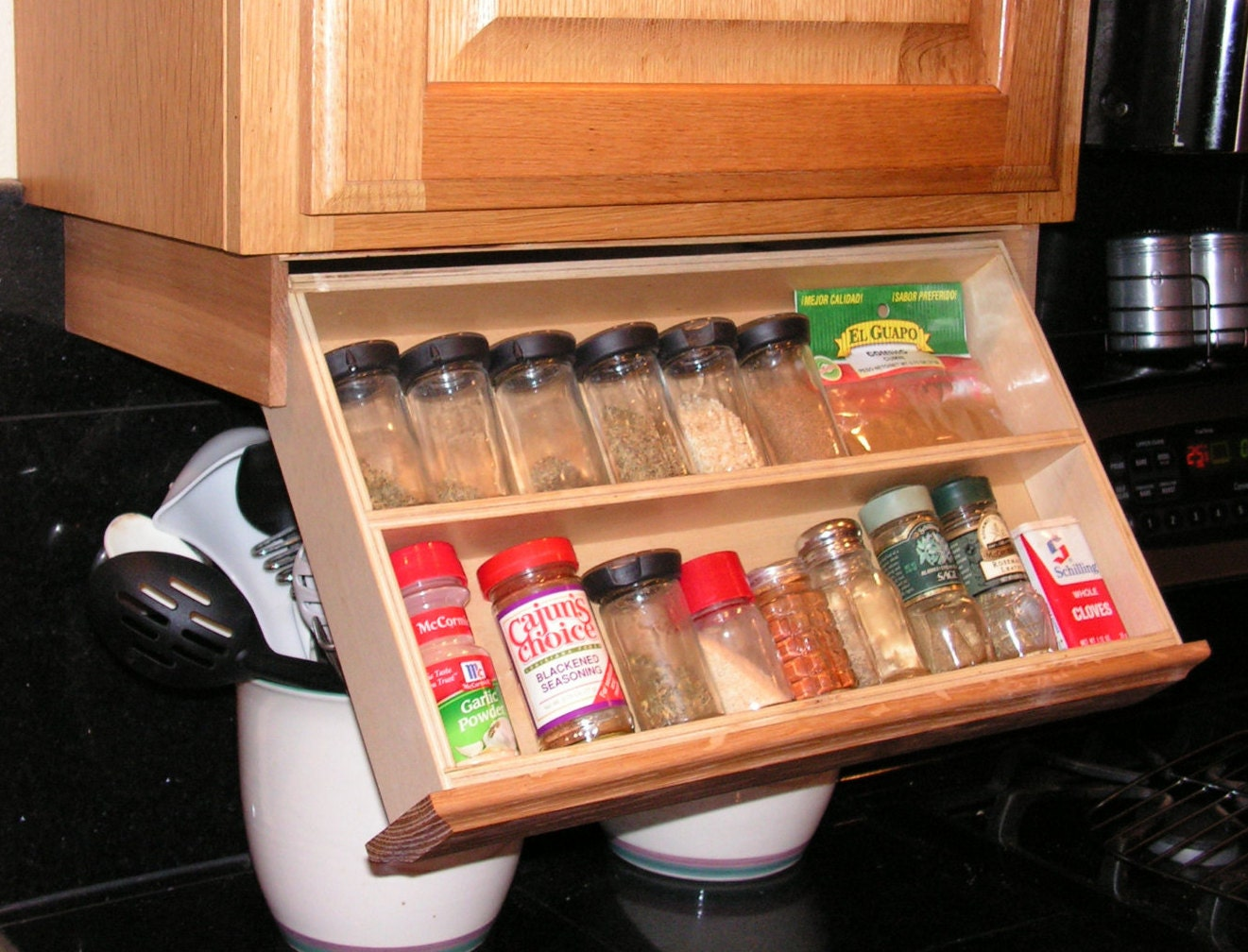 Under cabinet spice rack for Under counter spice storage
