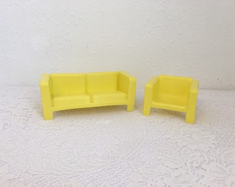 Vintage Barbie Furniture, Yellow Plastic Couch and Chair, 1970s Barbie Furniture,