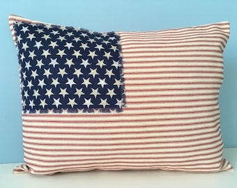 Flag Pillow, patriotic throw pillow cover, USA red white and blue, Stars and Stripes, Americana decor, rustic pillow, 4th of July decor
