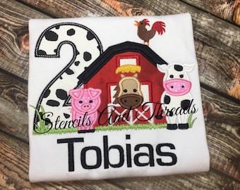 Farm animal birthday shirt/ barnyard birthday shirt/ barn/ pig/ cow/ horse/