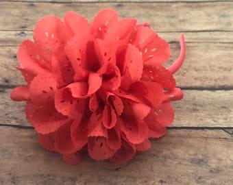 Coral Headband - Bright Coral hard Headband - Headband - Toddler Headband - girl headband - Coral flower - coral flower headband - hair band