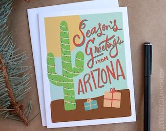 """Arizona Holiday Card, """"Season's Greetings"""" A2 Greeting Card"""