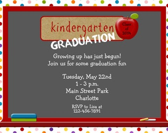 Sewing party girls birthday party invitation custom kindergarten graduation invitation graduation preschool graduation filmwisefo Image collections