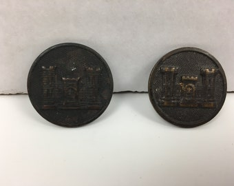 Pair of Vintage WWI US ARMY Military Uniform Corps of Engineers Collar Buttons