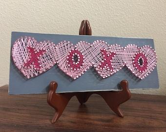 Valentine's XOXO With Hearts String Art   Valentine's Gift   Anniversary Gift