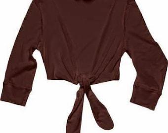 Bolero / Yoga WRAP TOP / 3/4 Sleeve Top / 29.00 / FREE us Ship / Shrug / White Top / Brown Top / Short Bolero / Fit Top / Crop Top / Tie Up