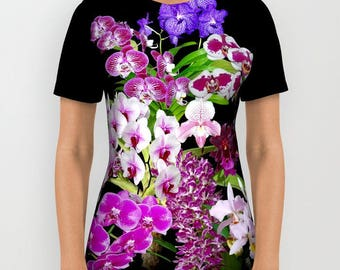 Orchids cool and restful all over print shirt, floral shirt, T shirt, sublimation shirt, nature inspired. nature lover gift mothers day gift