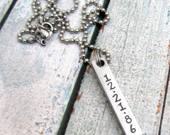 Personalized Necklace - Dad Necklace - Bar Necklace - Hand Stamped Jewelry - Personalized  Date Necklace - Gift for Dad - Father's Day Gift