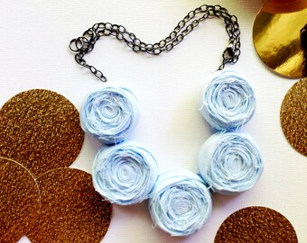 Baby Blue Rosette Necklace