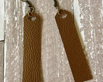 Faux Leather Bar Earrings Pleather Bronze Antiqued Gold Boho Jewelry