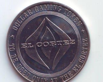 UNC El Cortez  Las Vegas Nevada  Casino Dollar Gaming Token  1965