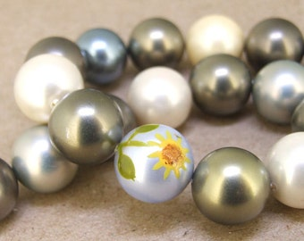 "14mm High Luster Multicolor South Seashell Pearl beads Round Shell Pearl Full One Strand 11"" in length 19beads Per Strand Jewelry Supplies"