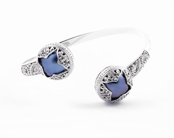 Balinese Padma Acala Solid Silver Blue Mabe Cuff Bracelet, 925 Sterling Silver, Blue Mabe Pearl