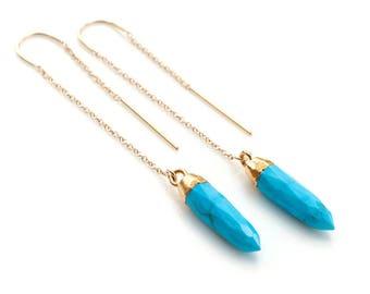 Turquoise Spike Threader Earrings, 14k Gold Filled Ear Threader, Gemstone Point Earrings, Boho Earrings, Minimal Jewelry, Gold Drop Chain