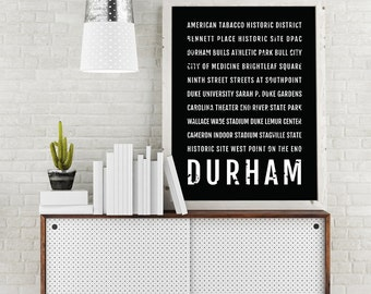Durham Print, Durham Subway Sign Poster, North Carolina Wall Art, Décor, Canvas, Gift, Bus Scroll, Typography, Minimal, Custom, Personalized