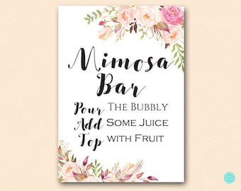 Boho Floral Mimosa Bar Sign, Mimosa Bar Printable, Bubbly Bar Sign, Mimosa Sign, Mimosa Bar, Bridal Shower Decoration Signs BS546 TLc546