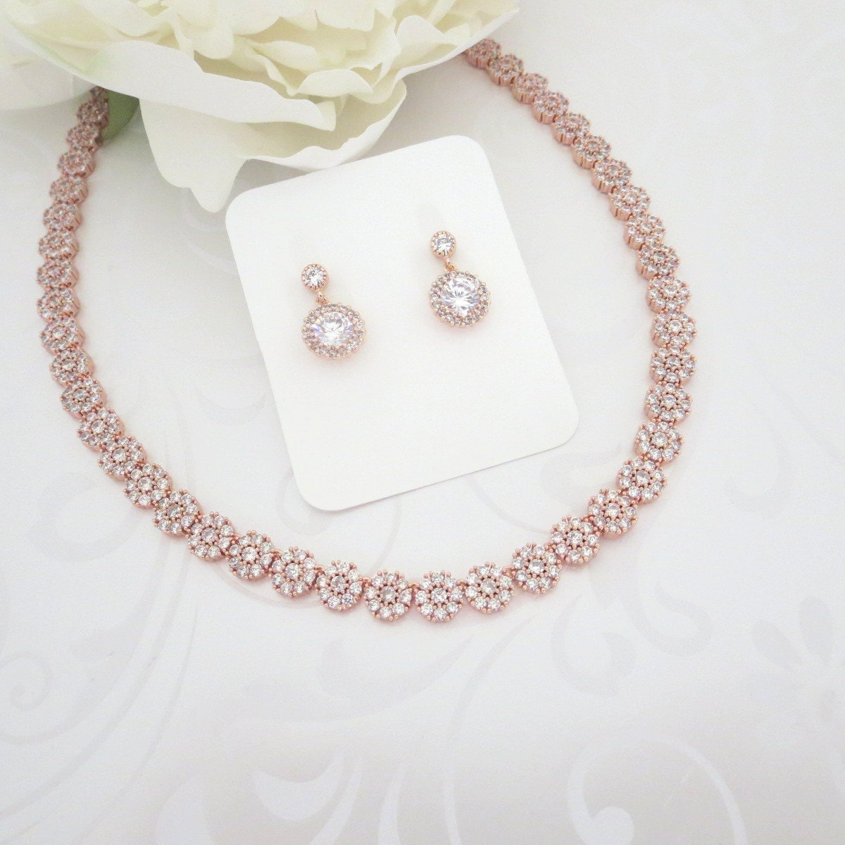 Rose Gold Bridal necklace Rose Gold Wedding jewelry