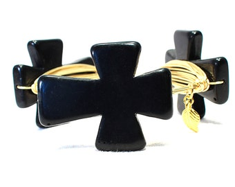 Large Black Stone Cross Wire Wrap Bangle Southern Style Stacking Gold Wire Bangle Bracelet Bourbon Boweties Inspired
