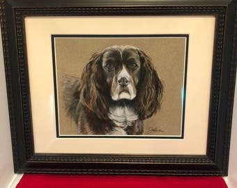 Vintage-Picture-Framed-Dog-Springer Spaniel-Canine-Wall Decor-Wall Hanging-Home Decor