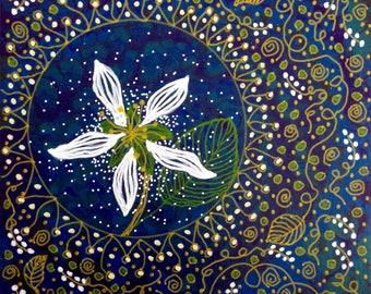 Small Original Painting - 6 x 6 - Serviceberry Flower