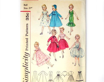Vintage Sewing Pattern / Doll Clothes / Butterick 2745 / Revlon, Dollikin, Cissy and Toni Doll Clothes / Trapeze Dress / 21 Inch Doll