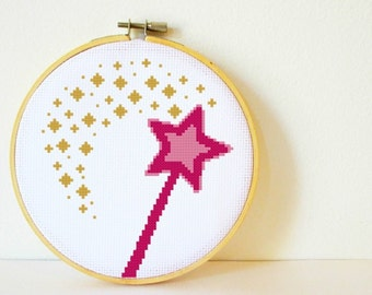 Counted Cross stitch Pattern PDF. Instant download. Magic Wand. Includes easy beginner instructions.