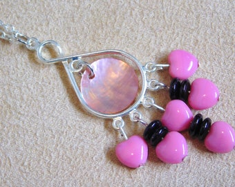 Pink and Purple Glass & Shell Necklace