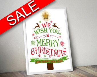 Wall Art Merry Christmas Digital Print Merry Christmas Poster Art Merry Christmas Wall Art Print Merry Christmas Christmas Art Merry tree