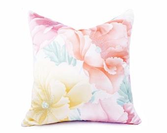 Pastel Floral Pillow, Floral Throw Pillow, Asian Pillows, Japanese Pillows, Lemon, Peach, Zen Pillows, Lilac, Pink, Coral, 20x20, 22x22