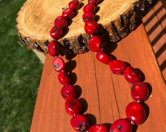Handmade Red Coral Beaded Necklace