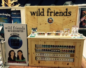 Trade Show Large Rustic custom table with Shelves   - portable for display booth TABLE ONLY