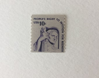 10 Justice 10c US postage stamps unused - Vintage 1977 - First Amendment Peoples Right to Petition for Redress - Law purple
