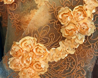 Emily LIGHT ORANGE Floral Matte Corded Embroidery on Mesh Scalloped Edge Lace Fabric by the Yard - SKU 3001