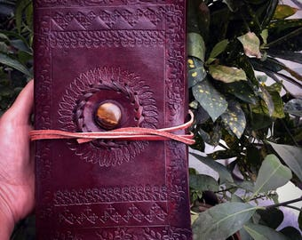 Book of Shadows with Tiger's Eye, Magical Diary, Leather Book of Shadows; Leather Journal