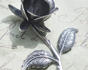 Delicate stem rose brass stamping, Sterling Silver Ox Finish , Jewelry Making, Jewelry Supplies made in the USA