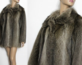 Vintage Raccoon Coat Real Fur Mid-Length Stroller Fur Satin Lined Femme Fatale
