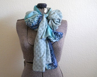 upcycled vintage silk sari scarf in light blue printed, extra long