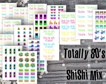 Totally 80s ShiShi Mix Micro Set-Micro Planner Sticker Set for Micro Binder-Tiny Sticker Compatible with Most Planner-Set of 15 Micro Sheets