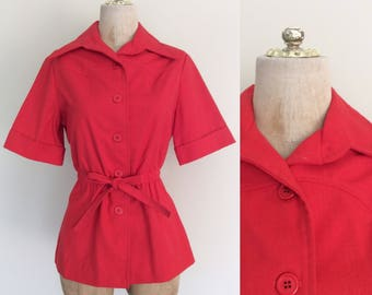 1970's Red Cotton Button Up w/ Stretch Waist Peplum Top Vintage Shirt Size Small Medium by Maeberry Vintage
