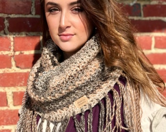 Brown Cowl with Fringes