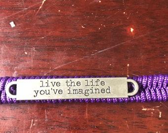 Live the life you imagined Inspiration Paracord Bracelet