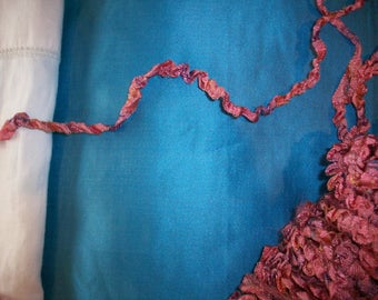 ombre rare silk/rayon antique authentic ribbon work ruched/ruffled ribbon