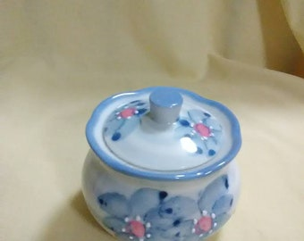 Vintage blue floral trinket dish with lid
