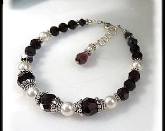 January Birthstone, Garnet Swarovski Crystal Bracelet,  Garnet and Pearl Bracelet, Red and White Jewelry, Garnet Jewelry